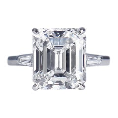 Tiffany & Co. GIA Certified 5.25 Carat E VS2 Emerald Cut Diamond Platinum Ring