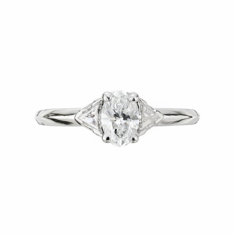 Oval Cut Tiffany & Co. GIA Certified .58 Carat Diamond Platinum Engagement Ring For Sale