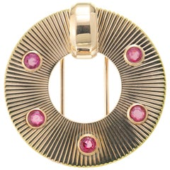 Tiffany & Co. GIA Certified .80 Carat Ruby Yellow Gold Circle Brooch