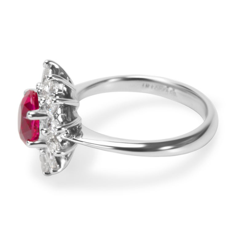Pre-owned Tiffany & Co. Burmese Ruby and Diamond Ring in Platinum. Recently polished and in excellent condition. Comes with original Tiffany & Co. box & GIA certificate. Ring size 4.75. Original retail price $12,000.  Center Stone: Type: Burmese