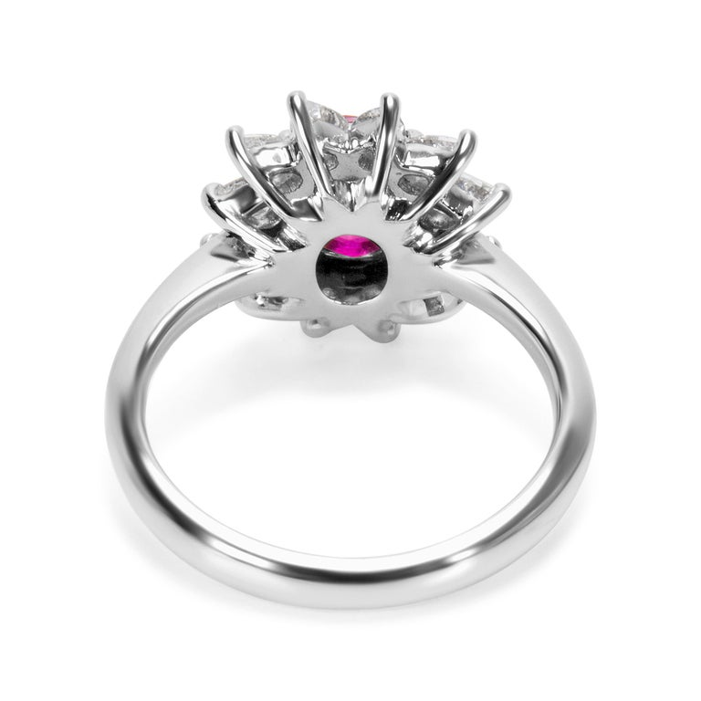 Oval Cut Tiffany & Co. GIA Certified Burmese Ruby and Diamond Ring For Sale
