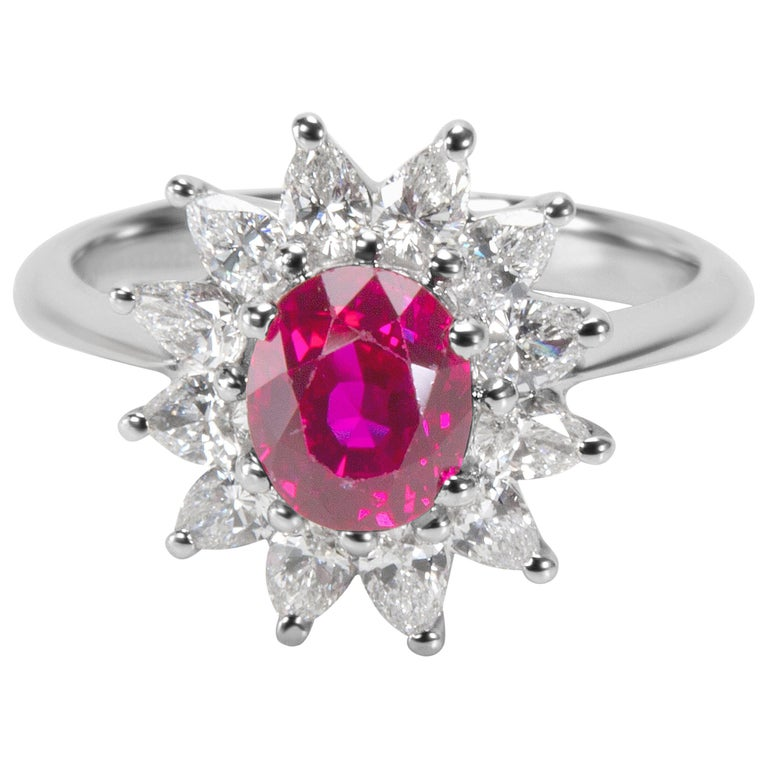 Tiffany & Co. GIA Certified Burmese Ruby and Diamond Ring For Sale