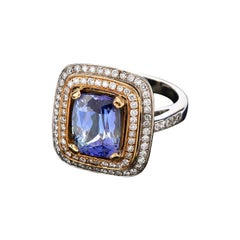 Tiffany & Co. GIA Tanzanite Diamond 18k Gold Vintage Cushion Engagement Cocktail