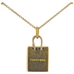 Tiffany & Co. Gift Bag Charm Pendant Gold Necklace