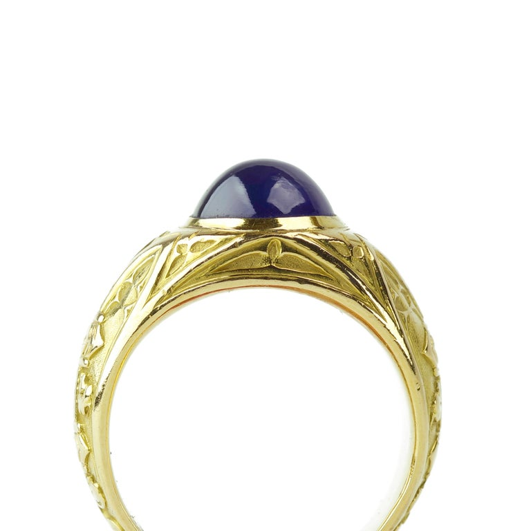Tiffany & Co. Gilded Age Men's Sapphire Cabochon Ring in Gothic Setting For Sale 7