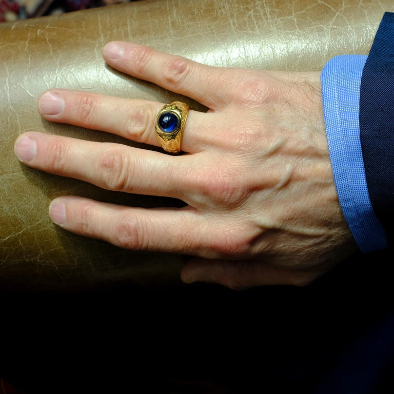 Tiffany & Co. Gilded Age Men's Sapphire Ring as Featured in The New York Times For Sale 11