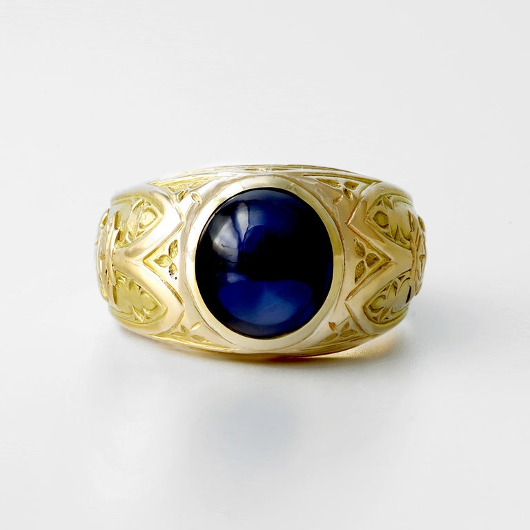 Oval Cut Tiffany & Co. Gilded Age Men's Sapphire Cabochon Ring in Gothic Setting For Sale