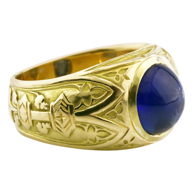 Tiffany & Co. Gilded Age Men's Sapphire Cabochon Ring in Gothic Setting For Sale