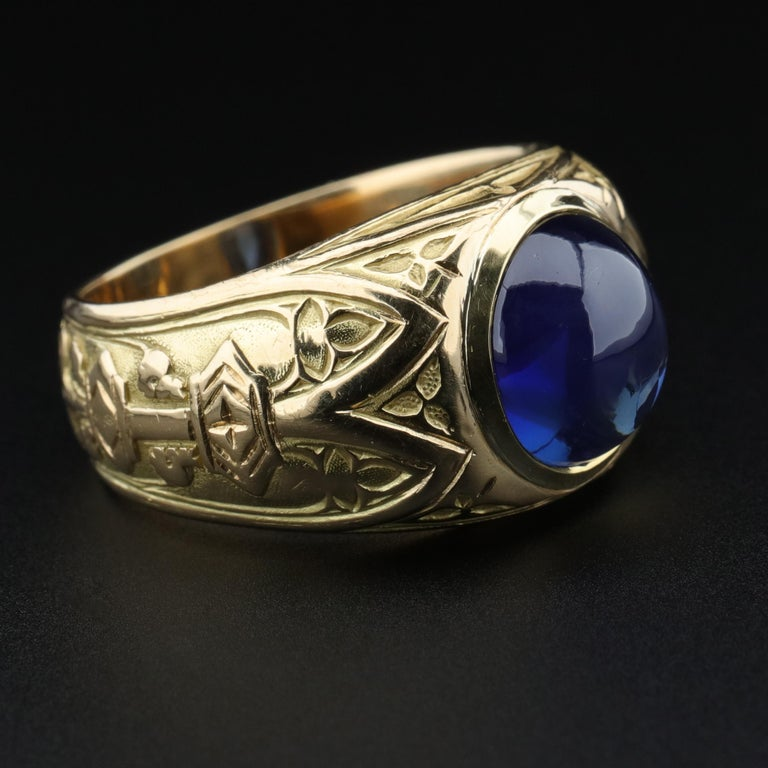 Tiffany & Co. Gilded Age Men's Sapphire Ring as Featured in The New York Times For Sale 9
