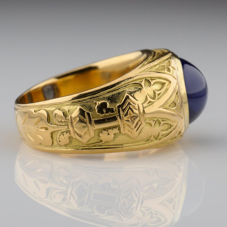 Tiffany & Co. Gilded Age Men's Sapphire Ring as Featured in The New York Times For Sale 5