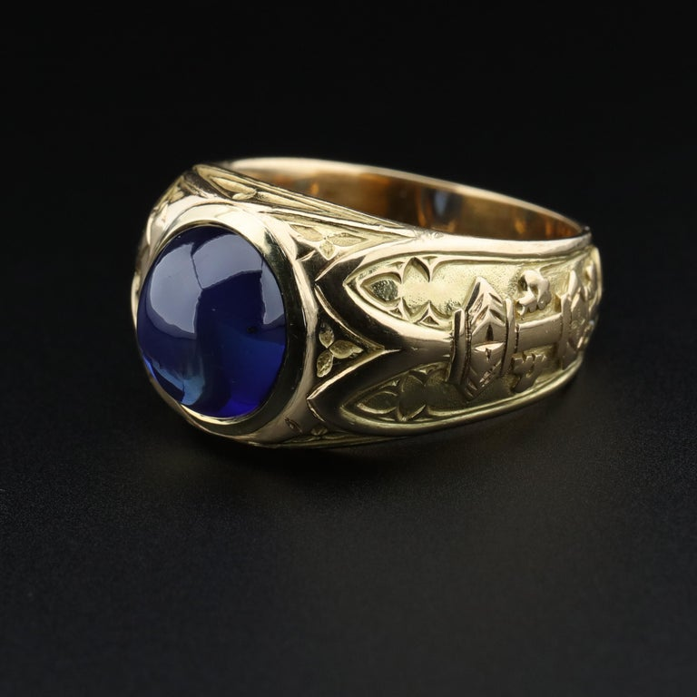 Tiffany & Co. Gilded Age Men's Sapphire Ring as Featured in The New York Times For Sale 10