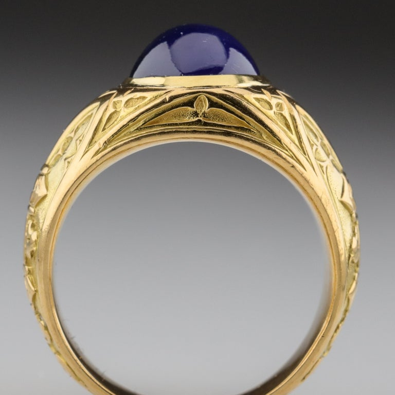 Tiffany & Co. Gilded Age Men's Sapphire Ring as Featured in The New York Times For Sale 6