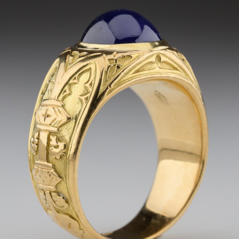 Tiffany & Co. Gilded Age Men's Sapphire Ring as Featured in The New York Times For Sale 7
