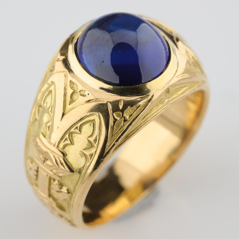 Tiffany & Co. Gilded Age Men's Sapphire Ring as Featured in The New York Times For Sale 8
