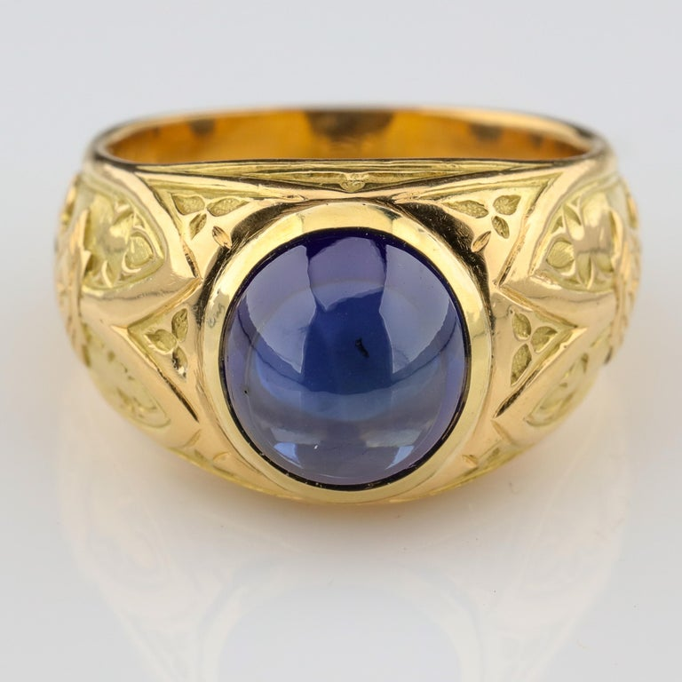 Oval Cut Tiffany & Co. Gilded Age Men's Sapphire Ring as Featured in The New York Times For Sale