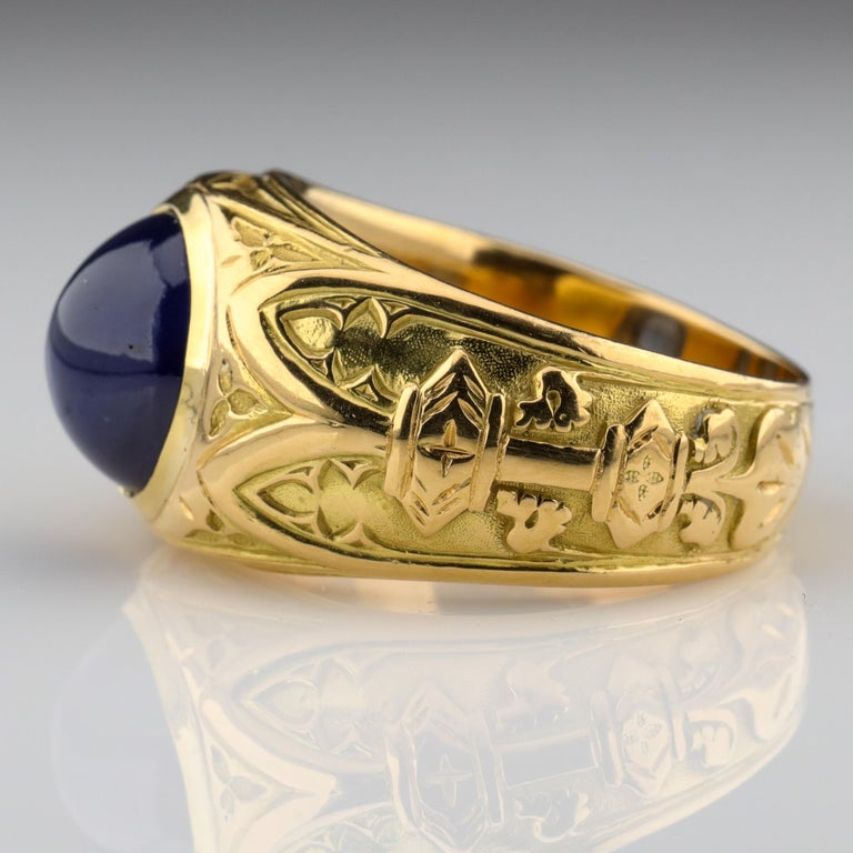 Tiffany & Co. Gilded Age Men's Sapphire Ring as Featured in The New York Times For Sale 1
