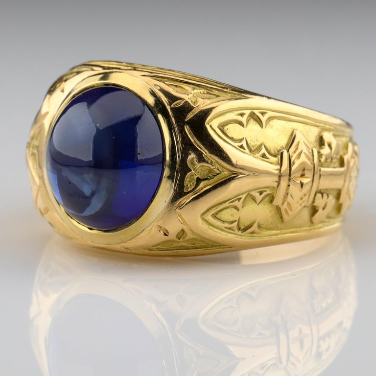 Tiffany & Co. Gilded Age Men's Sapphire Ring as Featured in The New York Times For Sale 2