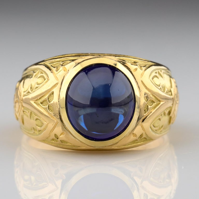 Tiffany & Co. Gilded Age Men's Sapphire Ring as Featured in The New York Times For Sale 3