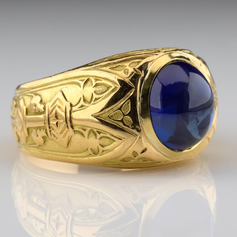 Tiffany & Co. Gilded Age Men's Sapphire Ring as Featured in The New York Times For Sale 4