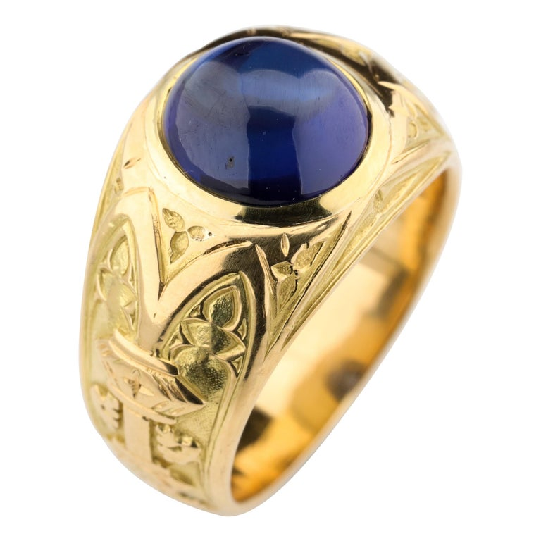 Tiffany & Co. Gilded Age Men's Sapphire Ring as Featured in The New York Times For Sale
