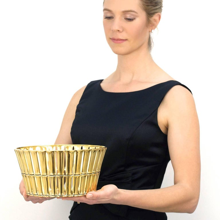 Mid-20th Century Tiffany & Co. Gilded Sterling Bamboo Pattern Centerpiece For Sale