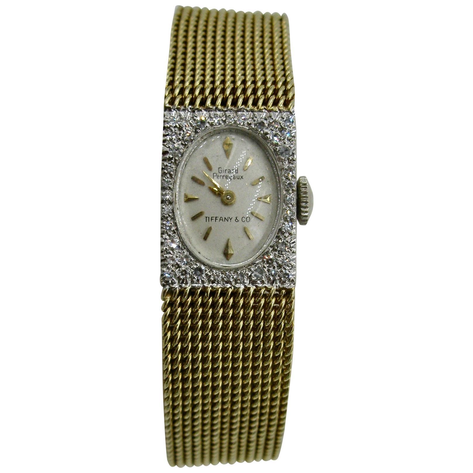 Tiffany & Co. Girard Perregaux Ladies Diamond Wristwatch Retro Midcentury 14K