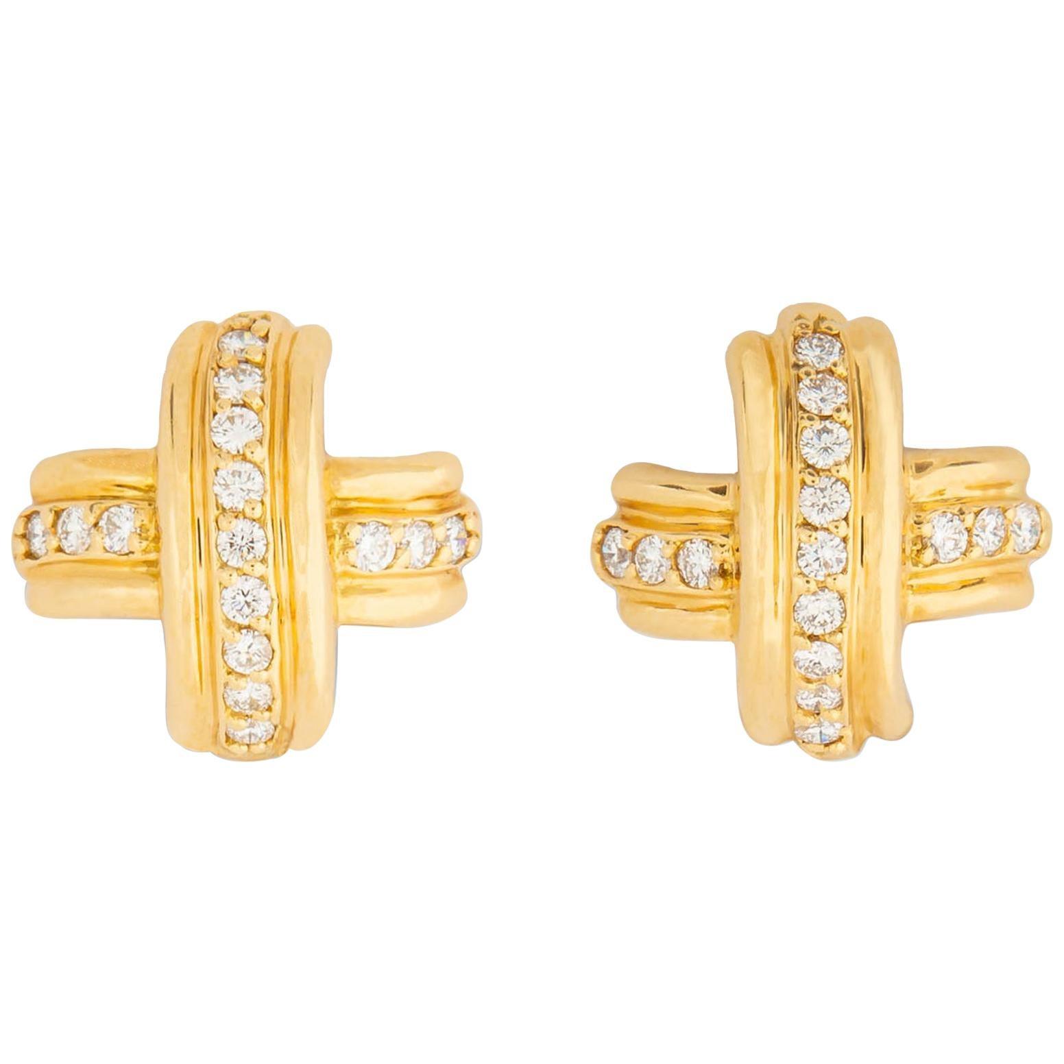 Tiffany & Co. Gold and Diamond Classic X Earrings