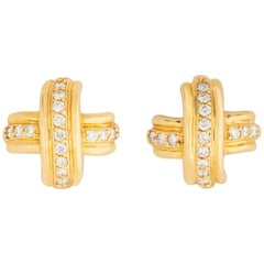 Tiffany & Co. Gold and Diamond Classic X Earrings