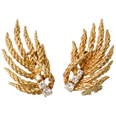 Tiffany & Co. Gold and Diamond Flame Earrings