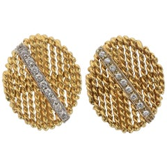 Tiffany & Co. Gold and Diamond Oval Cufflinks