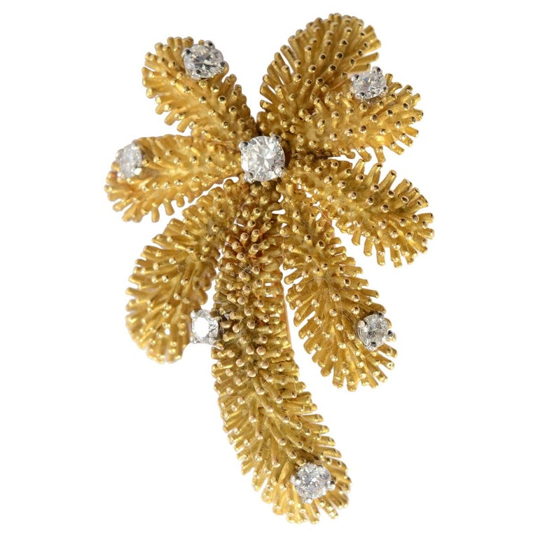 Tiffany & Co. Gold and Diamond Palm Tree Brooch For Sale