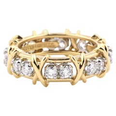 Tiffany & Co. Gold and Platinum Schlumberger Diamond Ring