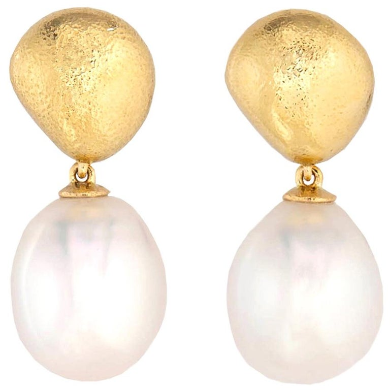 Tiffany & Co. Gold and South Sea Pearl Drop Earrings