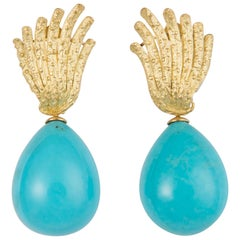 Tiffany & Co. Gold and Turquoise Drop Earrings