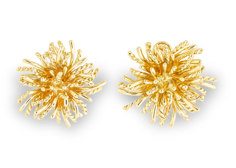 Contemporary Tiffany & Co. Gold Anemone Earrings For Sale