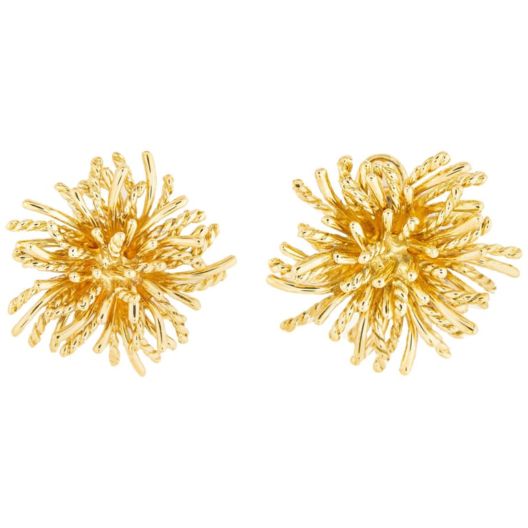 Tiffany & Co. Gold Anemone Earrings For Sale
