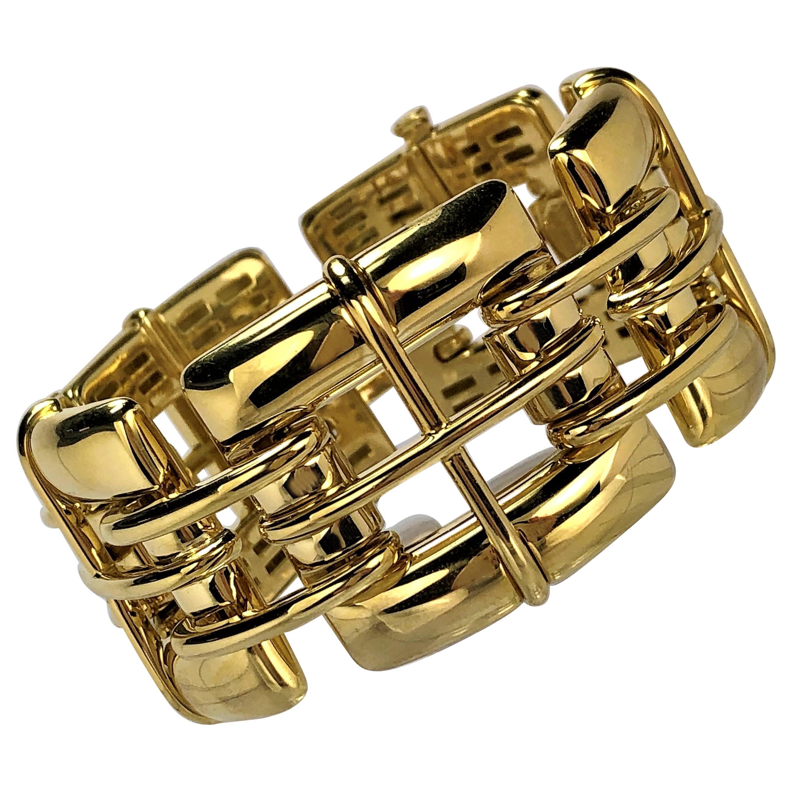 """Tiffany & Co. Gold Link """"Biscayne"""" Bracelet"""