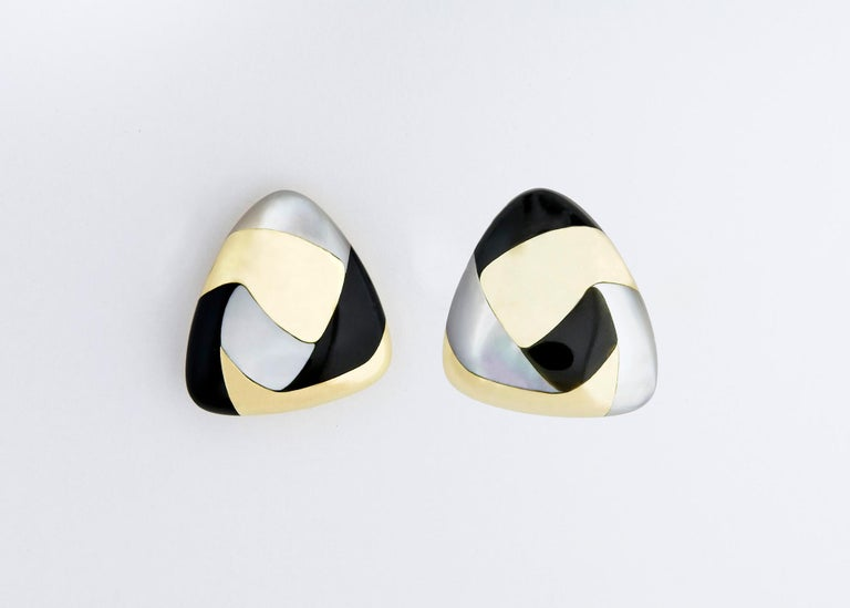 Contemporary Tiffany & Co. Gold Black Jade and Mother of Pearl Earrings