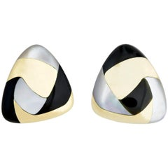 Tiffany & Co. Gold Black Jade and Mother of Pearl Earrings