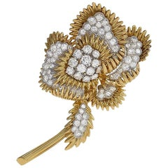 Tiffany & Co. Gold Brooch with Platinum-Set Diamonds