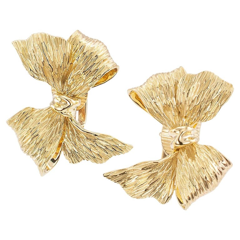 Tiffany & Co. Gold Clip On Bow Earrings For Sale