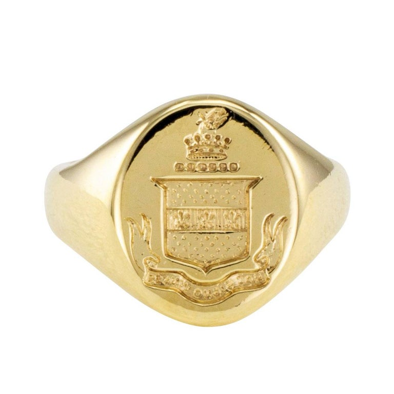 53dfa0f95 Tiffany and Co. Gold Crest Signet Ring at 1stdibs