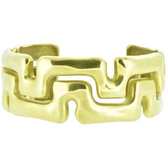 Tiffany & Co. Gold Cuff Bangle Bracelet Geometric 18 Karat Yellow Gold