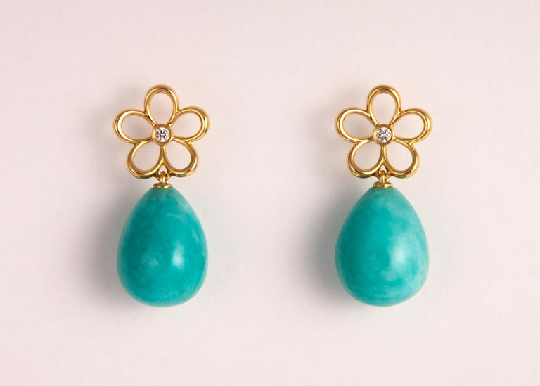 Contemporary Tiffany & Co. Gold Diamond and Amazonite Drop Earrings For Sale