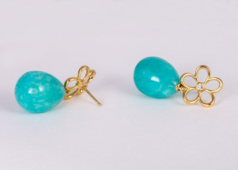 Tiffany & Co. Gold Diamond and Amazonite Drop Earrings In Excellent Condition For Sale In Atlanta, GA