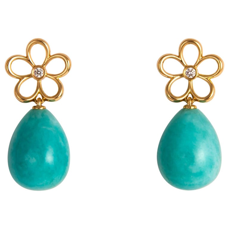 Tiffany & Co. Gold Diamond and Amazonite Drop Earrings For Sale