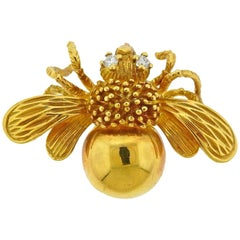 Tiffany & Co. Gold Diamond Bee Brooch Pin