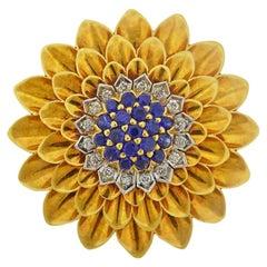 Tiffany & Co. Gold Diamond Sapphire Brooch
