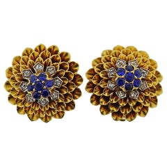 Tiffany & Co. Gold Diamond Sapphire Earrings