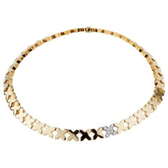 Tiffany & Co. Gold Diamond X Choker Necklace
